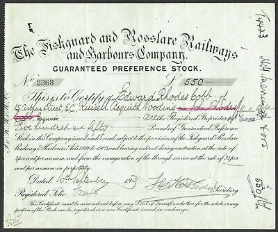 Share certificate Fishguard and Rosslare Railways and Harbours Co.