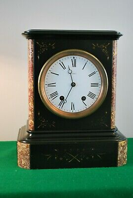 Large Antique Black Slate and Marble Ting Tang Mantle Clock