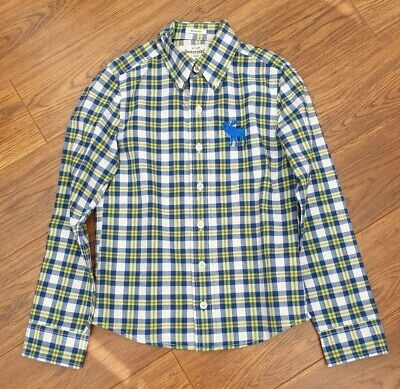 Abercrombie & Fitch Boys Age 6-7 Long Sleeved Checked Tartan Green Blue Shirt