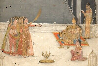 Antique Indian Miniature Painting - A Lady Enjoying a Nautch, 1750 - Mughal