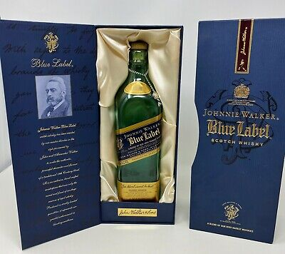 JOHNNIE WALKER BLUE LABEL SCOTCH WHISKEY BOX & EMPTY BOTTLE 750ml - PRISTINE NEW