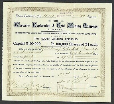 Share certificate (South Africa) Worcester Exploration and Gold Mining Co.,