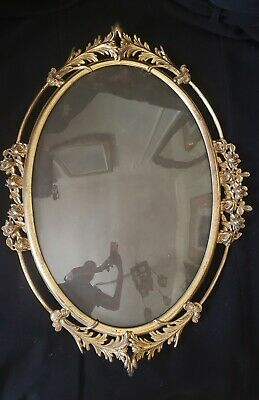 Antique  Metal Oval  Convex Glass  Large Picture Frame
