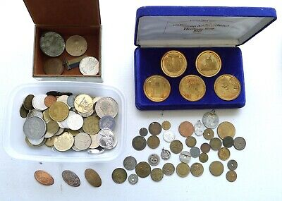 Job Lot / Collection Tokens, Medals And Oddments. Cased Set. 1.3 Kilos Total,