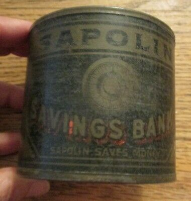 EArly 1900s Sapoline Paint Can Tin Bank