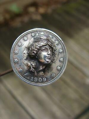 1909 Liberty Head nickel pop out coin punch out Lady as long hatpin-
