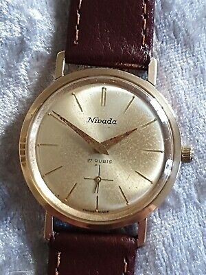 Gents Vintage Gold Plated NIVADA 17 Rubis Swiss Made Mechanical Wristwatch