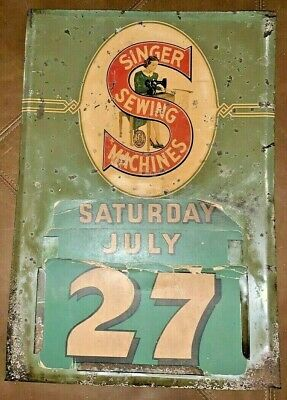 Antique Singer Sewing Machine Company Sign / Perpetual Calendar Vintage Rare