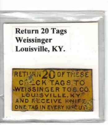 Tobacco Tag Weissinger Co. Louisville, KY. Return 20 Tags