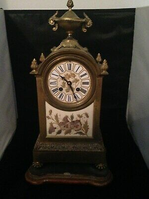 Rare Achille Brocot Antique French Ormolu & Coralene Glass Mantel Clock