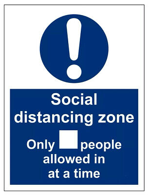 Social Distancing Zone Only People Allowed In At A Time Sign Virus Safety