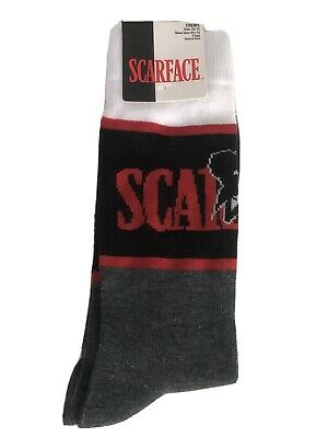 NEW Scarface Mens Crew Socks 1 Pair Grey/Black/Red/White Mens Sock Size 10-13