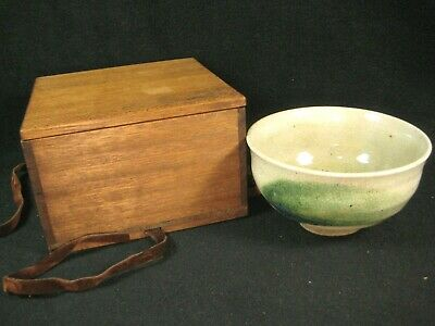 Antique Japanese Signed Tea Ceremony Ceramic Chawan Tea Bowl W/ Carrying Bag
