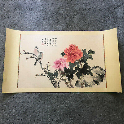 Beautiful vintage Chinese painting of birds and flowers