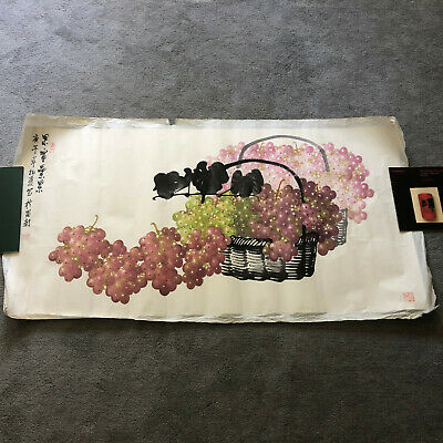 Beautiful vintage Chinese painting of grapes in baskets