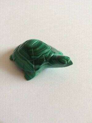 Malachite Turtle Hand Carved Figure Small Beautiful Green Vintage Collectible