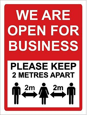 We are open for business KEEP YOUR DISTNCE sign vinyl sticker virus
