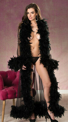 One Size Fits Most Womens Chandelle Feathers Long Robe