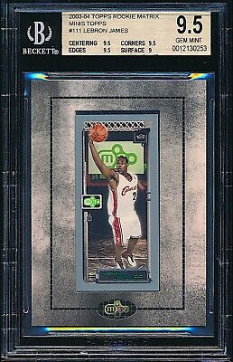 2003-04 Topps Rookie Matrix Mini LeBron James Rookie RC #111 BGS 9.5 GEM MINT