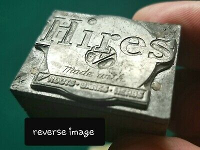 Rare Vintage 1940's Hires Root Beer Soda  Lead & Wood Letterpress Printers Block