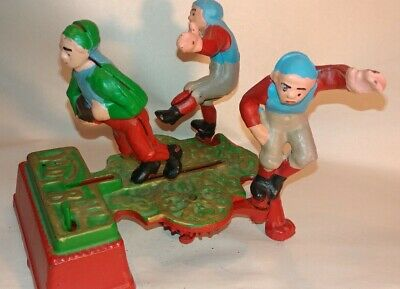 Vintage Cast Iron Mechanical Coin Bank Metal Collectible Toy FOOTBALL GUYS RUGBY