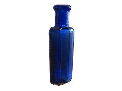 Early Antique COBALT BLUE Chinese Poison Bottle Hand Blown