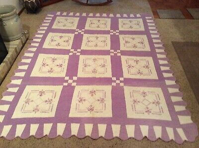 Vintage Antique EMBROIDERED QUILT LAVENDER Purple WITH Flowers 74X96 Handmade