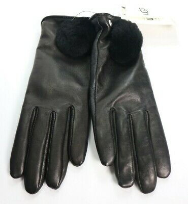 Authentic Ugg 17634 Women's Leather Pom Glove Black Size Small $110 New