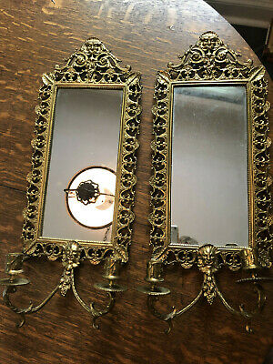 Antique Ornate Brass Mirror Candle Sconces (2)