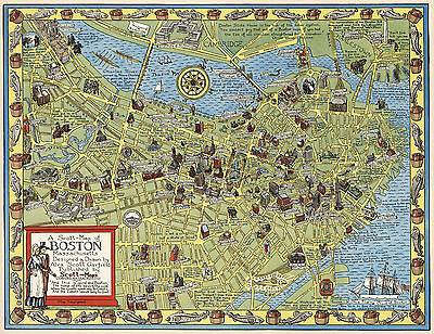Pictorial Map Boston Massachusetts Family History Wall Art Print Poster Decor