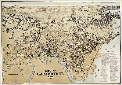 1877 Pictorial Map Cambridge Massachusetts Charles River Vintage Wall Art Print