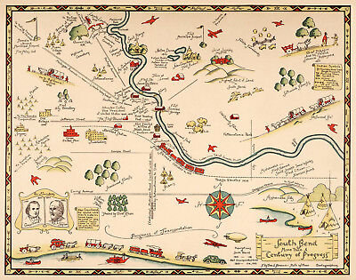 Early Midcentury Pictorial Map South Bend Indiana Wall Poster Office Home School
