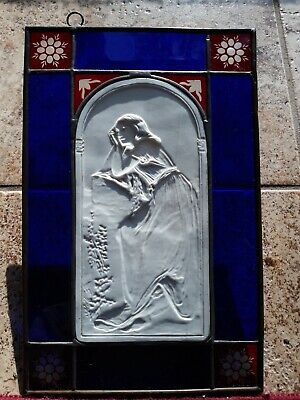 RARE Antique German KPM Lithopane W/ Stained Glass Borders