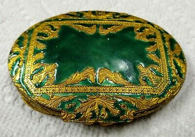 Vintage Powder Box - Green inlay - Face Puff - Made in Italy