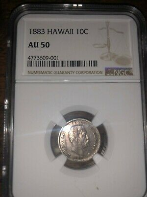 """1883 Hawaiian Dime  - """"SPECTACULAR""""  - Certified -  """"AU"""" -  by NGC"""