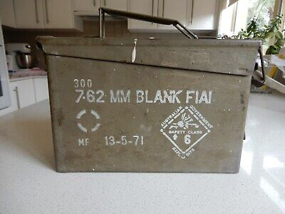 Ammo box for 7.62mm blank rounds – Australian army memorabilia - empty - used