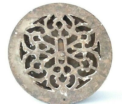 Antique VICTORIAN Ornate CAST IRON FLOOR GRATE Round Register Vintage Gothic Old