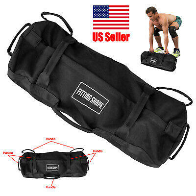 Exercise Sandbag up to 60 lbs Black Inner and Outer Bags 7 Handles