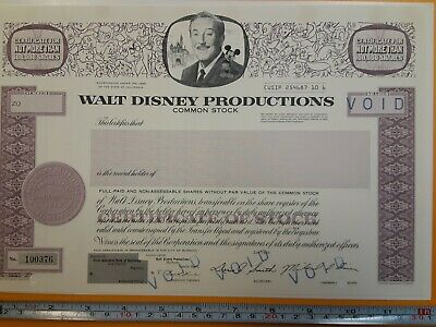 Walt Disney Productions Stock Certificate Voided