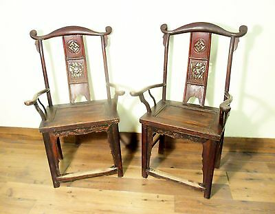 Antique Chinese High Back Chairs (Pair) (5742), Circa 1800-1849