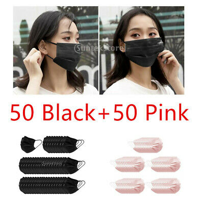 100x Black+Pink Disposable Face Mask 3-Ply Dust Protect Haze Pollen Germs Filter