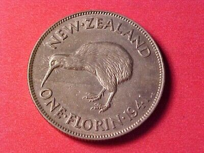New Zealand 1 Florin Silver 1941 Nice Detail George Vi