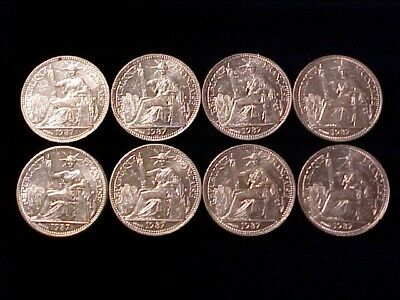 French Indo-China 10 Cents Silver 1937 Bu/Au Lot Of (8) Eight Coins