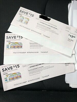 Similac Coupons/Checks (3) $15 Each Total Of $45 Expires In October 2020.