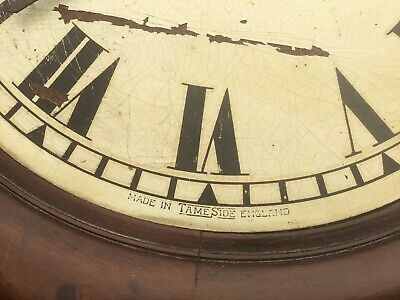 Antique Oxtoby Bradford Oak Wall Clock 12 Face Station or School wind up clock