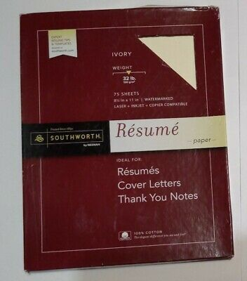 "Southworth 100% Cotton Resume Paper 8.5"" x 11"" 32lb  IVORY 75 Sheets Total"