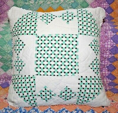 Vintage Green Shoofly Variation Farmhouse Feedsack Quilt Throw Pillow w/ Insert