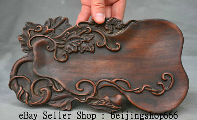 """9.6"""" Old Chinese Huanghuali Wood Carved Dynasty Palace Gourd Plate Tray Inkstone"""