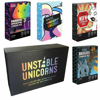 Unstable Unicorns Black Edition & 4 Expansion Packs NSFW Card Game New BOXES G