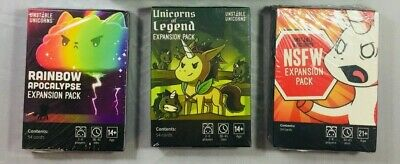 Unstable Unicorns Expansion Packs Rainbow Apocalypse NSFW Unicorns of Legend NEW